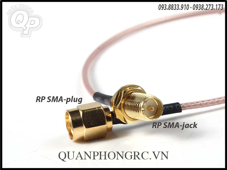 RP-SMA Male to RP-SMA Female RF Connector Pigtail Cable ( đầu nhỏ có kim)